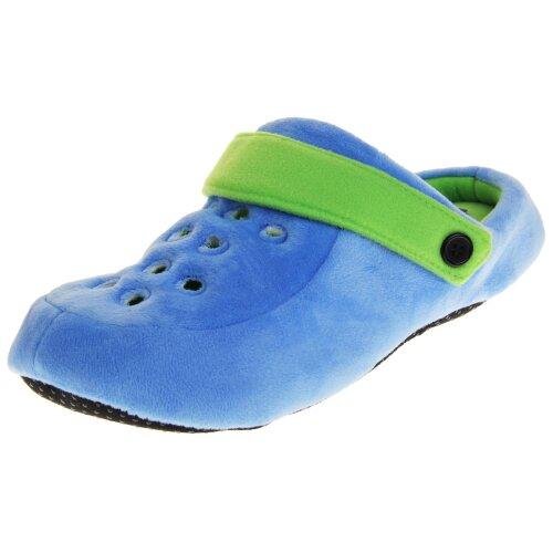 (Blue and Green, UK 12-13) Dunlop Mens Fleece Clog Slippers