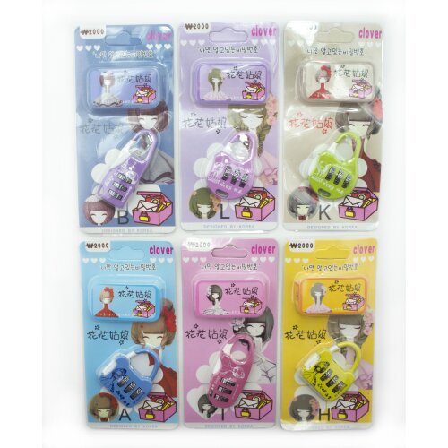 HAND Set of 2 Clover 3 Digit Combination Padlocks for Your School, Home, Locker, Bag, Diary