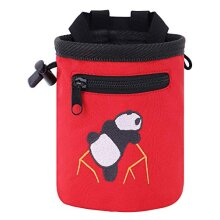 AMC Rock Climbing Panda Embroidered Chalk Bag with Zipper Pocket (Red 6 inches x 4 inches)