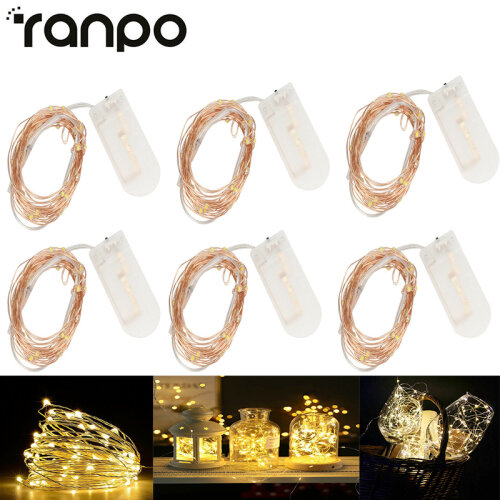 6 Pack 1M Battery Powered LED Copper Wire String Fairy Lights Xmas Decor