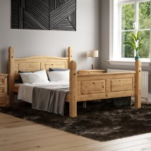 Corona Mexican Solid Pine Bed Frame High Foot End
