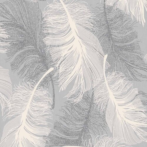 Feather Wallpaper Glitter Effect Textured Dappled Grey White Silver Luxury
