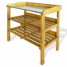 vidaXL Solid Acacia Wood and Zinc Potting Bench with 2 Shelves Flower Staging