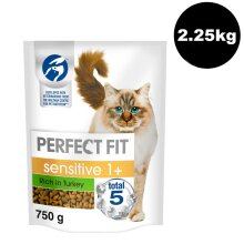 PERFECT FIT Cat Complete Dry Sensitive 1+ Turkey 3x750g