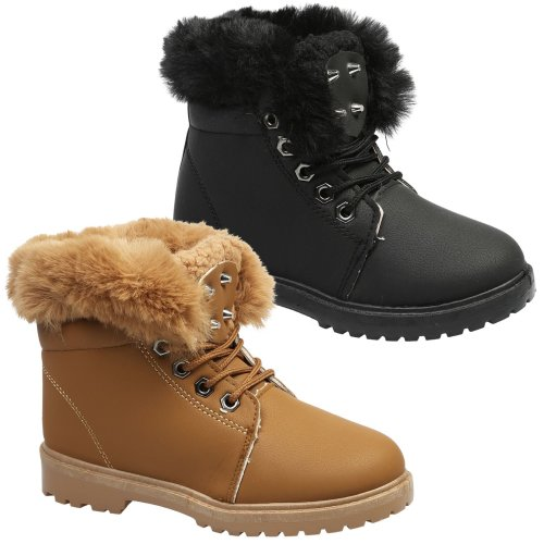 Grip Sole Comfy Girls Festival Trainers Size 5 6 Womens Lace Up Fur Ankle Boots
