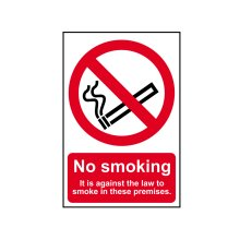Scan SCA0567 No Smoking It Is Against The Law Sign PVC 200 x 300mm