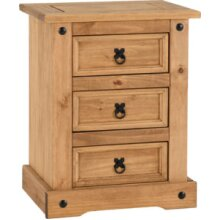 Corona 3 Drawer Bedside Chest Storage Furniture Distressed Waxed Pine
