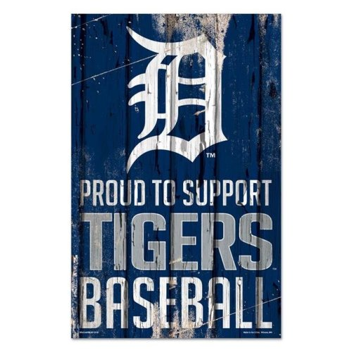 Wincraft 3208560977 11 x 17 in. Detroit Tigers Wood Proud to Support Design Sign