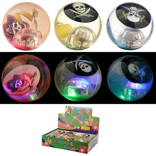 Fun Kids Flashing Rubber Bouncy Ball - Pirate