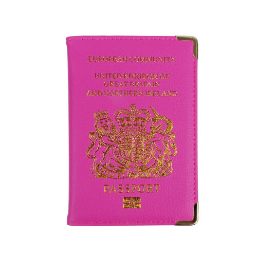 New UK Passport Holder Protector Cover Wallet PU Leather- Hot Pink