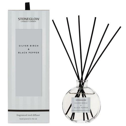 Stoneglow Modern Classic Home Fragrance Diffuser -  Silver Birch & Black Pepper 140ml