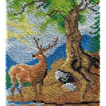 Deer Under Tree Rug Latch Hooking Kit (64x48cm blank canvas)