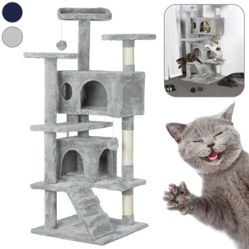 (Light Grey) Climbing Tower Scratching Post Cat Tree