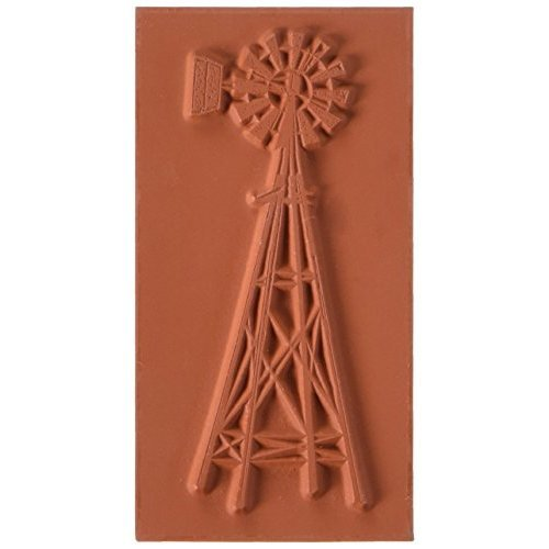 Deep Red Stamps Farmers Windmill Rubber Stamp