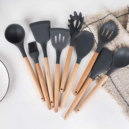 Silicone Wooden Kitchen Cooking Utensils Set Tools Spatula Spoon
