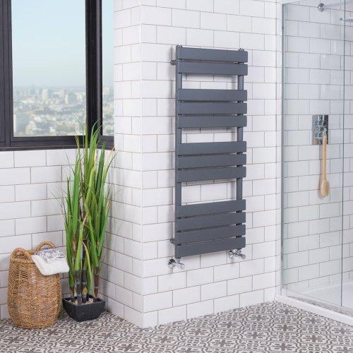 Juva 1200 x 500mm Sand Grey Flat Panel Heated Towel Rail