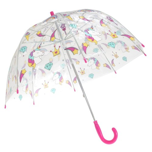 X-Brella Childrens/Kids Transparent Unicorn And Rainbow Themed Stick Umbrella