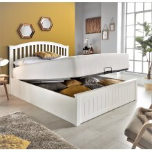 Grace White Wooden Ottoman Storage Bed and Mattress
