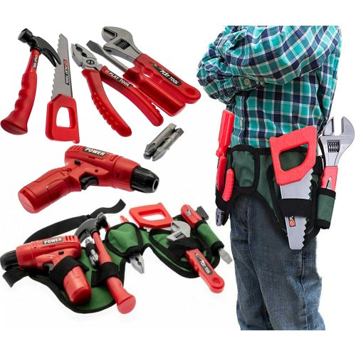 The Magic Toy Shop Kids Tool Set Toy & Work Belt with Accessories