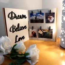 Dream Believe Love Foldable Photo Frame Custom Photography Print Bride Groom Engagement Gift Idea