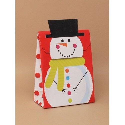 (16x12.5x6 cms) Christmas Gift Bag Box Snowman Print With Self Closing Top Various Sizes