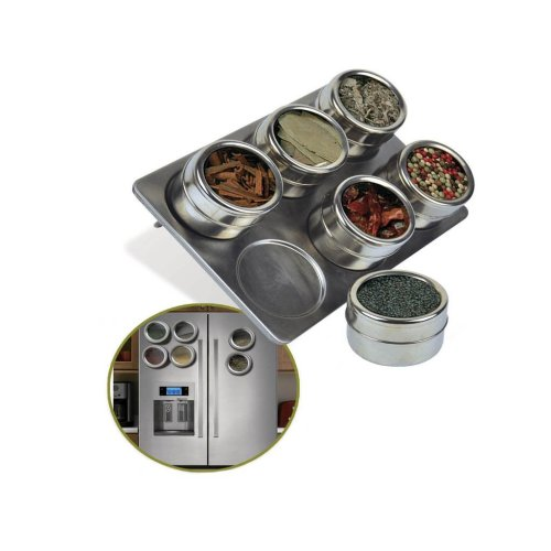 Kabalo 6 Piece Magnetic Stainless Steel Herb & Spice Pot, Tin, Jar Storage Holder With Stand