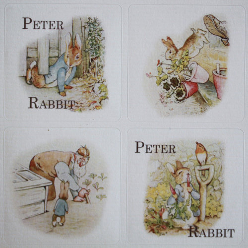 Peter Rabbit Themed Sticker Sheet - 35 square stickers - Beatrix Potter