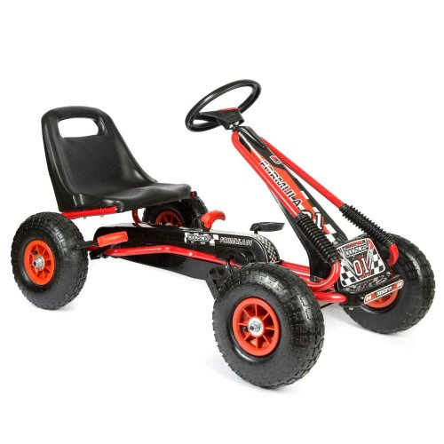 Pedal Go Kart with Inflatable Tyres 5-8 Years - Red