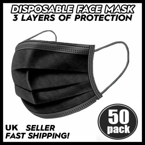 Black 50-Pack Triple Layer Protective Masks 3ply Disposable Face Masks