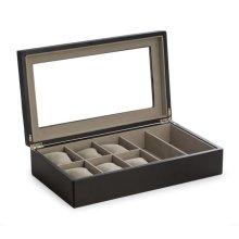 Bey-Berk International BB705BLK Wood Six Watch & 2 Sunglass Storage Box with Glass Top, Soft Velour Lining - Black