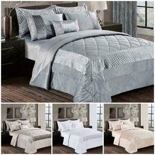 Decorative 3 Piece Quilted Bedspread Bed Throw All Size Bedding Set