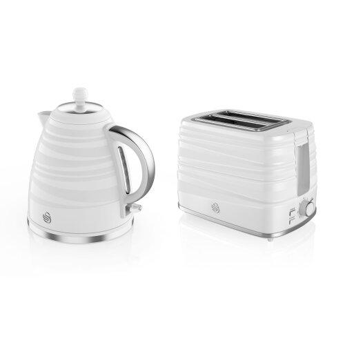 Swan Symphony STP3050WN White Kettle & 2-Slice Toaster Set