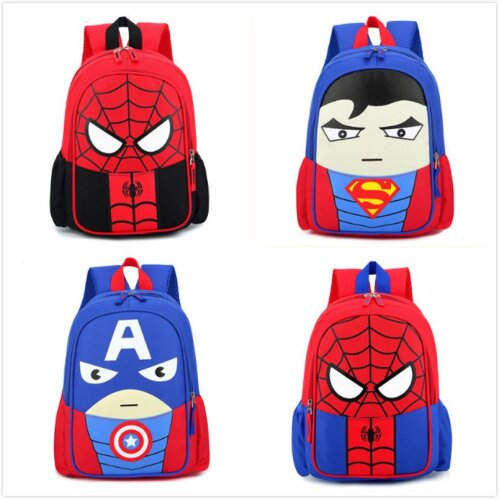 Kids Superhero School Bag Spiderman Superman Backpack Rucksack