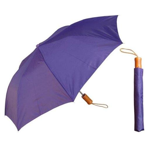 RainStoppers W001-W-PURPLE 42 in. Auto Open Deluxe Purple Umbrella with Wood Handle, 6 Piece