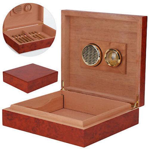 Brown Cedar Wooden Lined Cigar Humidor Humidifier + Hygrometer Box