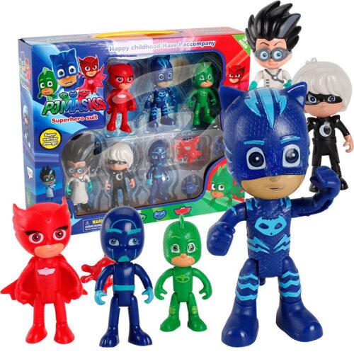 (6 PCS Pj Masks Toys) 6Pcs Owlette Gekko Cloak Máscara Acción Figura Toy