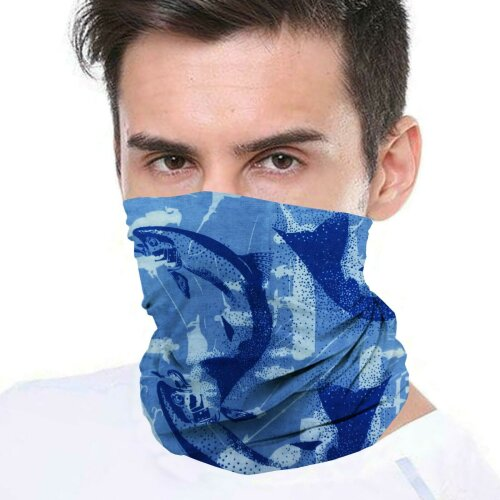(Blue Fish) Bandana Face Covering Mask Biker Tube Snood Scarf Neck Cover
