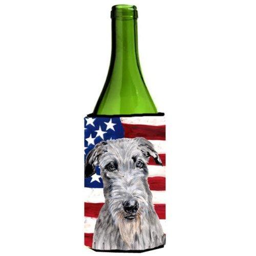 Scottish Deerhound With American Flag Usa Wine bottle sleeve Hugger  24 Oz.