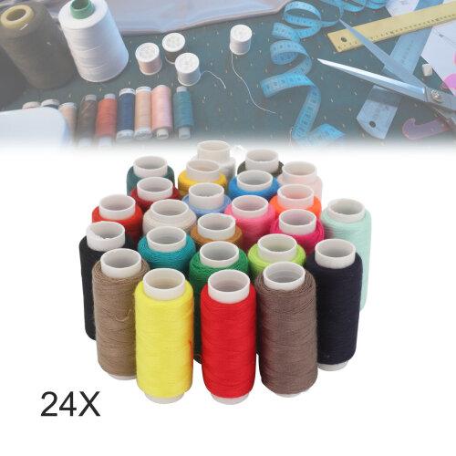 24Colour Spools 180M Sewing Thread All Purpose 100% Cotton Thread Reel
