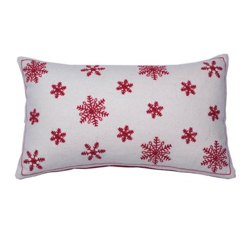 Vickerman QTX17605 12 x 20 in. Let It Snow White Collection Pillow