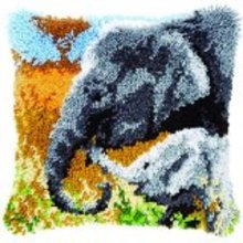 """Latch Hook Complete Cushion Kit""""Mother and Baby Elephant"""" 43 x 43cm"""