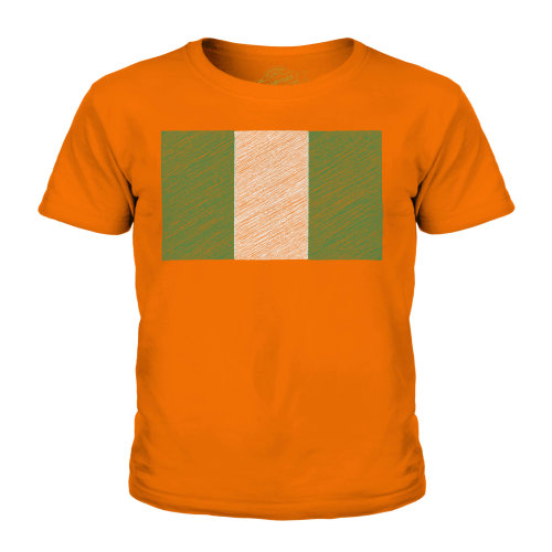 (Orange, 9-10 Years) Candymix - Nigeria Scribble Flag - Unisex Kid's T-Shirt