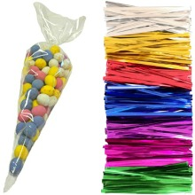 Clear Cello Party Cone Bags - Large 18x37cm Kids Plastic Cellophane Candy Bag for Sweets and Treats