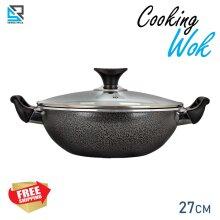 Aluminum Non Stick Wok With Glass Lid Deep Cooking Pot Pan 27 cm
