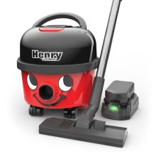 Numatic HVB160 Cordless Henry Cylinder Vacuum Cleaner with 2 x 36 V Batteries for Longer Run Time, 9 Litre, Red/Black