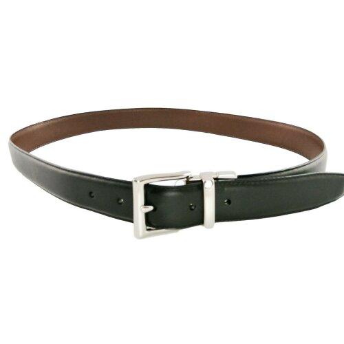 "Men's Ralph Lauren Leather Belt Black Brown Size 36"" Reversible Silver Buckle"
