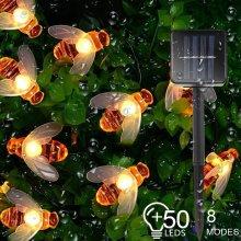 LED Solar Garden Lights Waterproof Outdoor Honey Bee Fairy String Lights
