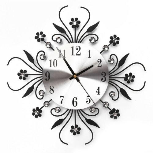 3D Wall Clock Art Metal Diamonds Flower Clock Home Office Decor DIY