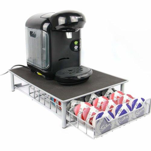Tassimo 60 Pod Holder   Stylish Black Capsule Organiser   Drawer Storage & Coffee Machine Stand   Non - Slip feet   M&W Grey