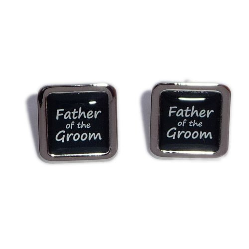 Father Groom Picture Grey Wedding Cufflinks with Black Pouch